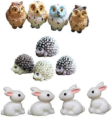 Dotool - 12 minifiguras de búhos, conejo, erizo, miniatura, animales, hadas, jardín, oficina, escritorio, decoración, musgo, suculentos, bonsái, micro paisaje, decoración – color aleatorio: Amazon.es: Jardín