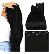 Full Shine Clip in Extensions Human Hair 3 Pieces Remy Clip ins Black Double Weft with Lace Base ...
