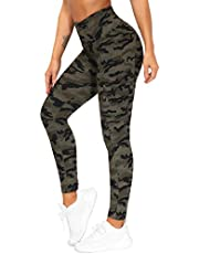 THE GYM PEOPLE Women's High Waist Yoga Pants with Pocket Ribbed Fabric Tummy Control Hiking Leggingsfor Workout, Running