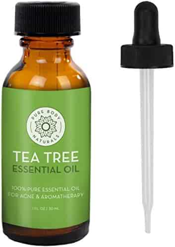 Tea Tree Essential Oil, Natural Treatment for Acne, Hair and Diffuser, 100% Pure Melaleuca Oil by Pure Body Naturals, 1 Ounce (Label Varies)