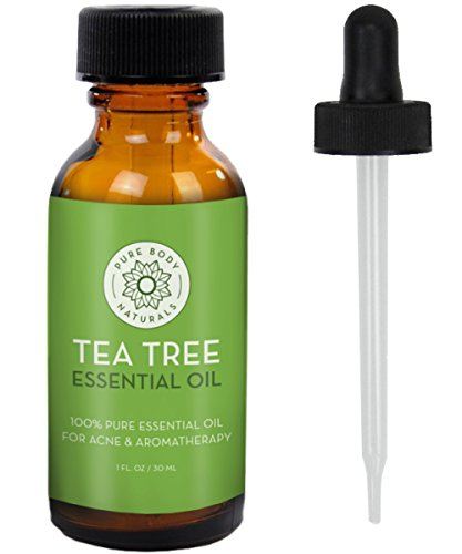 Facial Redness Remedy - Tea Tree Essential Oil, Natural Treatment for Acne, Hair and Diffuser, 100% Pure Melaleuca Oil by Pure Body Naturals, 1 Ounce (Label Varies)