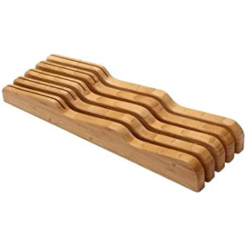 YBM Home In-Drawer Bamboo Kitchen Knife Block Holds 9 Knives (Not Included) Without Pointing Up, Wooden Butcher Knife Holder Storage Organizer for the ...