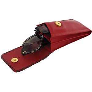 Leather Duo WS Eyeglass Cases, Red, Double
