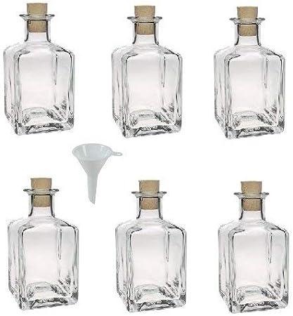 Viva Haushaltswaren - Juego de Botellas de Cristal pequeñas (con tapón de Corcho 6 Unidades 200 ml rellenables Incluye Embudo de 7 cm de diámetro)