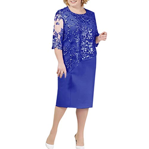 Seaintheson Womens Dress, Ladies Plus Size Cocktail Dress Short Sleeve Lace Midi Dress Elegant Evening Party Mini Skirt Dark Blue
