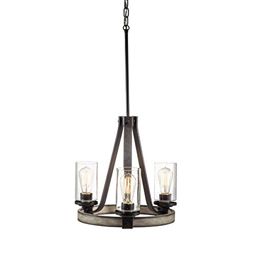 KICHLER Barrington 3-Light Anvil Iron and Driftwood Rustic Seeded Glass Candle Chandelier 34751