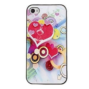 CL - Corazón en forma de caja de la PC dura del caso del patrón con marco Negro para iPhone 4/4S