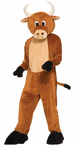 Forum Novelties Men's Brutus The Bull Plush Mascot Costume, Brown, One Size]()