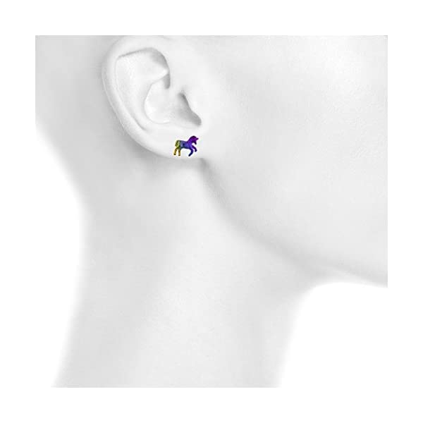 Lux Accessories Rainbow and Silver Tone Unicorn Novelty Multi Earring Set (3PCS) 4