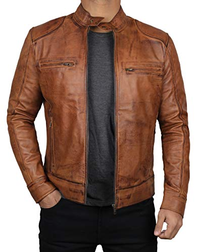 (Decrum Tan Brown Mens Leather Motorcycle Jacket | [1100491] Dodge Tan, XS)