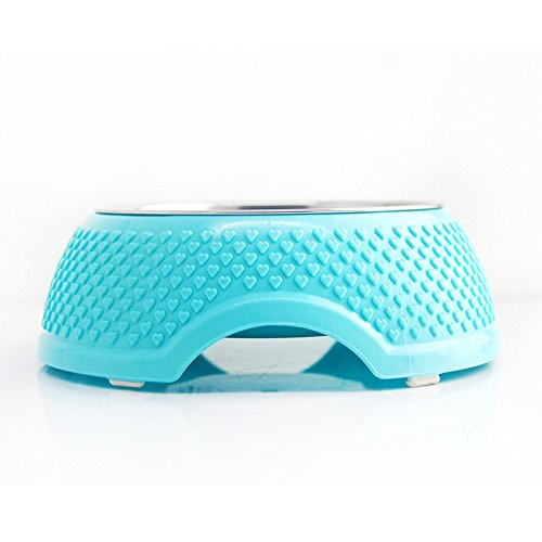 on sale VICTORY,1/2 Pcs 5.3 inch Diner Pet Bowl Cat Dog Premium Stainless Steel+Natural Resin Pet Bowl Rust Proof Unique Design 5.1 inch,Pink,Green,Blue with Non-Skid Natural Rubber