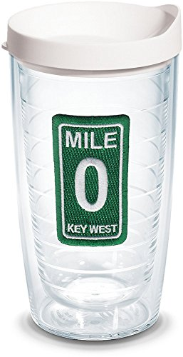 Tervis 1140320 Florida Key West Mile Marker 0 Insulated Tumbler with Emblem and White Lid, 16oz, Clear (Mile Marker Florida Keys)