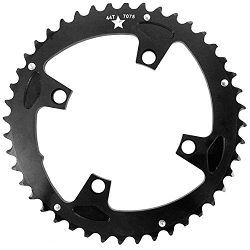 104mm BCD 4-Bolt SharkTooth Pro Mountain Chainring Made in USA (44 Tooth) ()