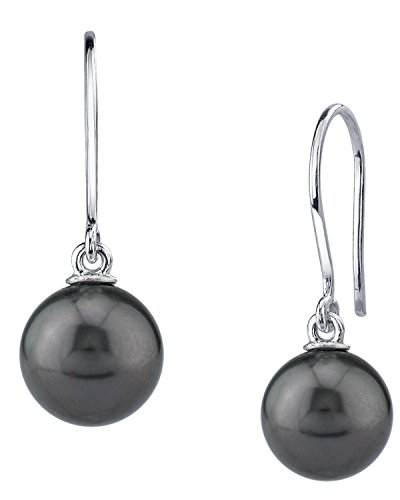 THE PEARL SOURCE 14K Gold 10-11mm Round Genuine Black Tahitian South Sea Cultured Pearl Linda Earrings for Women
