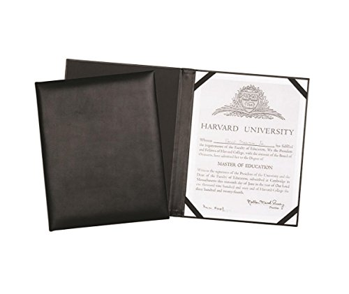 "Leather Certificate Menu Holder or Wine list Diploma Cover holds one 8.5"" x 11"" insert with clear protective cover. Black"