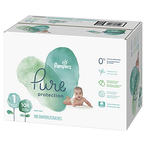 - Diapers Newborn/Size 1 (8-14 lb), 108 Count - Pampers Pure Disposable Baby Diapers, Hypoallergenic and Fragrance Free Protection, Giant