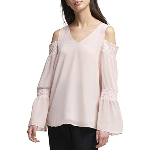 DKNY Womens Smocked Cold Shoulder Pullover Top Pink L Dkny Button Down Shirt
