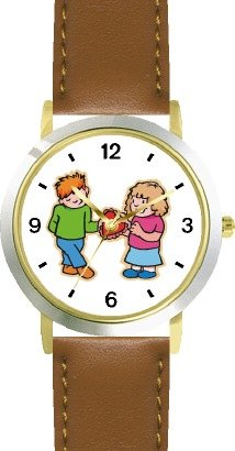Boy and Girl with Valentine - WATCHBUDDY DELUXE TWO-TONE THEME WATCH - Arabic Numbers - Brown Leather Strap-Women's Size-Small by WatchBuddy