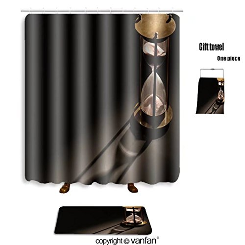 vanfan bath sets with Polyester rugs and shower curtain vintage hourglass on dark background with lon shower curtains sets bathroom 72 x 78 inches&31.5 x 19.7 inches(Free 1 towel and - Soho Shop Hours