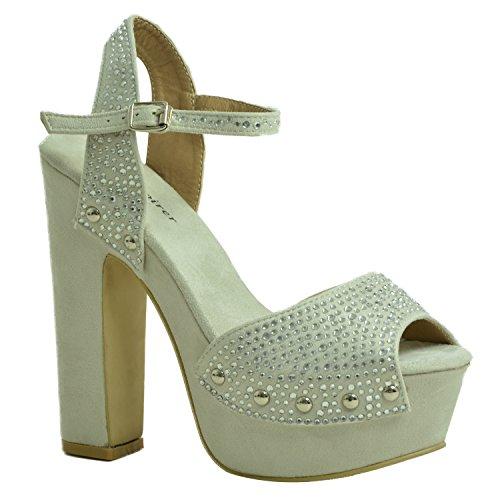 Cucu Fashion CucuFashion New Womens Ladies Studded Block Heel Sandals Ankle Strap Studs Chunky Platforms Peep Toe Shoes Size UK 3 4 5 6 7 8 Silver Hx4cAuyK