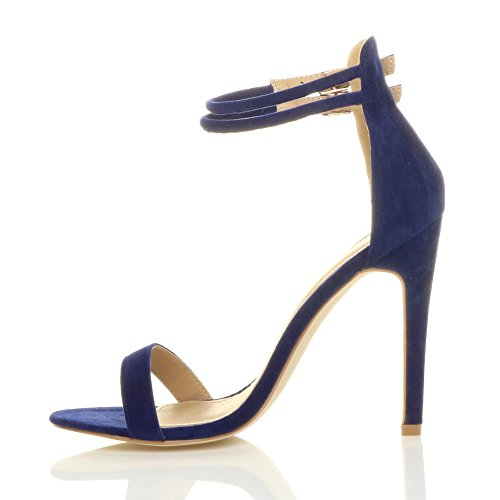 Ajvani There Sandals Size Barely High Blue Heel Women Suede Strappy Cobalt Shoes rqwxFnrX