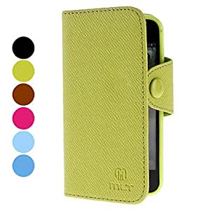 Wood Grain Design PU Leather Case with Card Slot for iPhone 5/5S (Assorted Colors) , Yellow