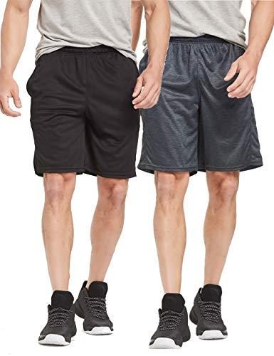 CYZ Men's Performance Running Shorts -BlackCharcoal2PK-2XL