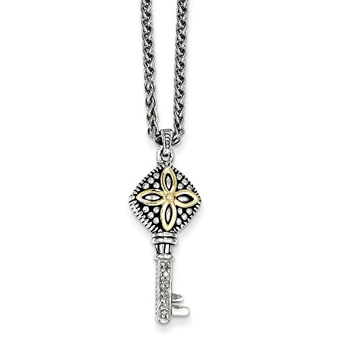 Diamond Silver Keychain Sterling (Sterling Silver and 14k Gold Diamond Key Chain Necklace 18inch)