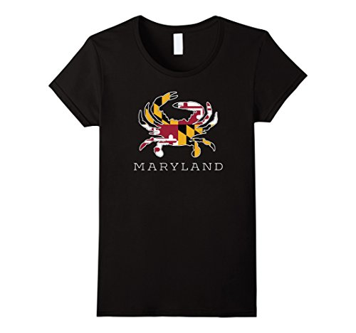 Womens Maryland State Flag Classy Blue Crab Tee Shirt Medium (Baltimore Flag T-shirt)