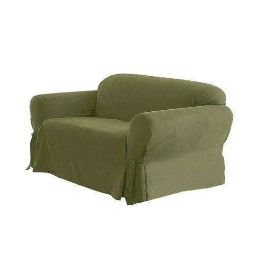 Green Living Group Chezmoi Collection Soft Micro Suede Light Moss Couch/Sofa Cover Slipcover with Elastic Band Under Seat Cushion, Green (Color May Vary) Contemporary Suede Sofa