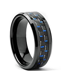 Metal Masters Co.® Black Men's Tungsten Carbide Wedding Band With Black and Blue Carbon Fiber Inlay, 8mm Sizes 7 to 13