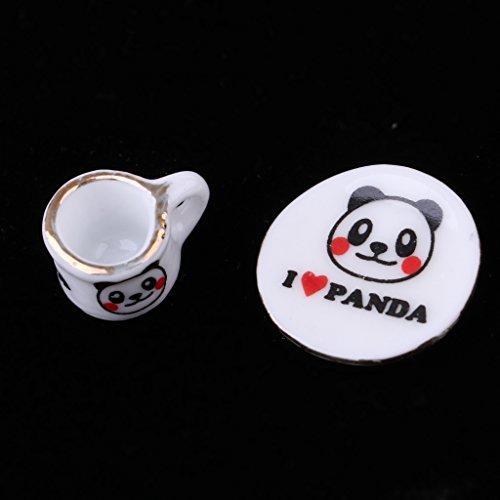 15pcs Ceramic Tea Set Pot Cup Saucer Plate 1//12 Dollhouse Panda Patterns