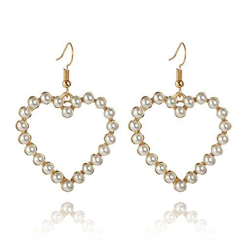 Alloy Pearl Earrings Fashionable Heart Earrings Long Love Earrings ()