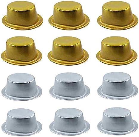 Pack Cotillón Chistera Oro Plata Metalizada Plástico (12 uds)