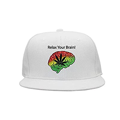 srygjukuu Unisex Cannabis Cure Relax Your Brain Cap Pattern Flat Brim Visor Hats