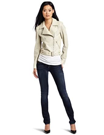 McGinn Women's Alexis Leather Jacket, Ivory, Medium
