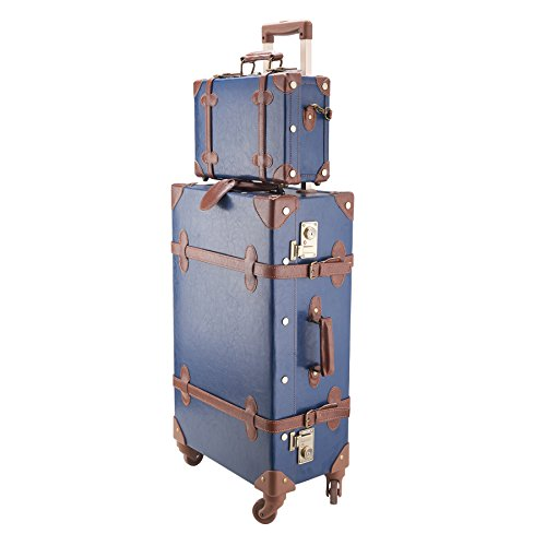 "CO-Z Premium Vintage Luggage Sets 24"" Trolley Suitcase and 12"" Hand Bag Set with TSA Locks (Pink + Beige) (12"" +24"" Blue)"