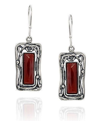 Retro Vintage Style 925 Sterling Silver Faceted Carnelian Gemstone Rectangle Women's Dangle Earrings