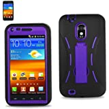 Premium Heavy Duty Hybrid Case (Outer Silicone + Inner Hard Protector Case W/ Kickstand) Galaxy S2 Sprint Samsung Epic Touch 4G (Model SGH D710) - Purple and Black