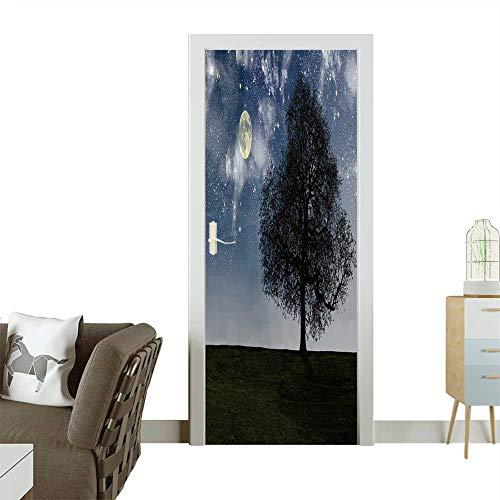Homesonne Door Sticker Wallpaper Night Tree,Halloween Night Fashion and Various Pattern W38.5 x H77 INCH