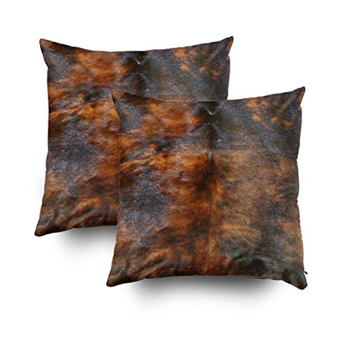 Shorping Christmas Zippered Pillow Covers Pillowcases 18x18Inch 2 Pack Simulated Leather Look Brown Black Decorative Throw Pillow Cover Pillow Cases Cushion Cover for Home Sofa Bedding