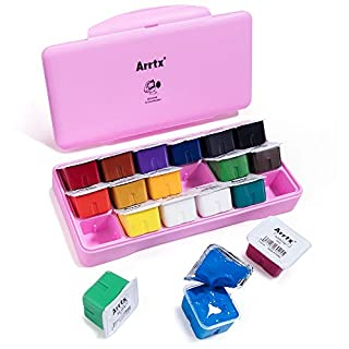 Arrtx Gouache Paint Set, 18 Colors x 30ml Unique Jelly Cup Design, Portable Case with Palette for Artists, Students, Gouache Watercolor Painting (Pink)