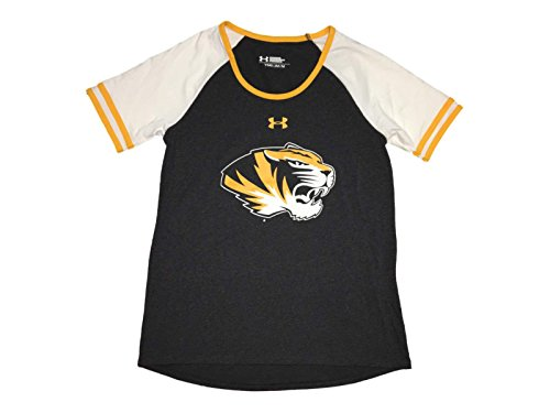 Missouri Tigers Under Armour Heatgear GIRLS Gray SS Scoop Neck T-Shirt (M)