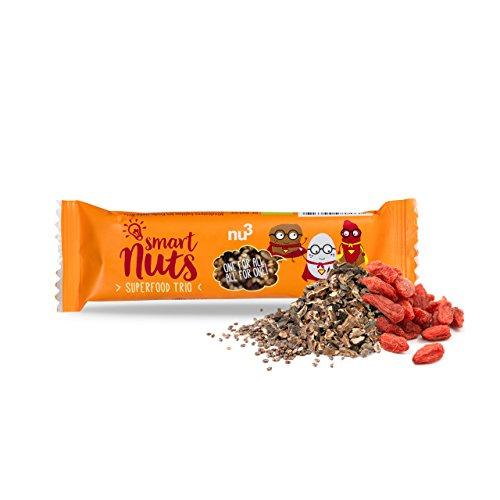 nu3 Bio Superfood Trio Riegel, 15 x 40 g - Der leckere Superfood-Riegel als Oatsnack - Vegane und gesunde Süßigkeiten mit Chia-Samen, Goji-Beeren und Kakao-nibs