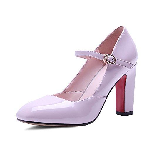 AllhqFashion Mujeres Hebilla Puntera Cuadrada Cerrada Tacón ancho Sólido De salón Rosa