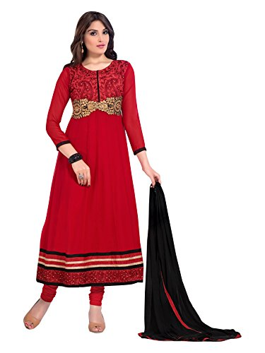 Vibes Women's Georgette Patch Work Straight Dress Material – Free Size, Red