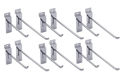 (Slatwall Hooks, Chris.W Deluxe Slatwall Hangers, Display Hooks For Panel - Chrome, 12-Pack (Six 4-Inch and Six 6-Inch))