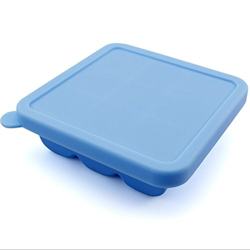 Seaped Homemade Silicone Baby Food Storage,9 Cube(blue)