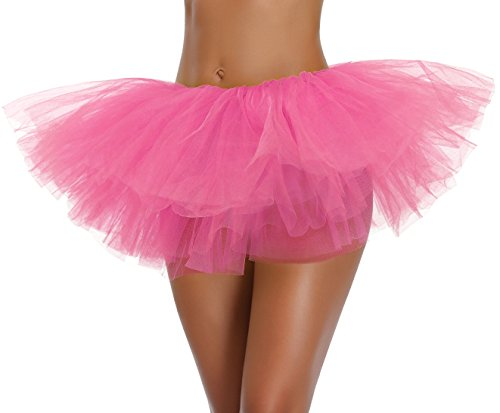v28 Women's Teen Adult Classic 5 Layered Full Tulle Tutu Skirt (One Size, DarkPink 5Layer) -