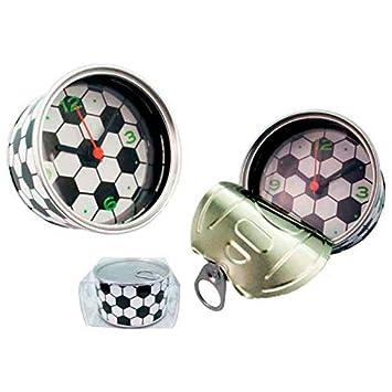 Amazon.es: DISOK Lote de 20 Relojes Despertadores Aluminio Football presentados en Lata con Caja de Regalo de PVC (Pila no incluida)